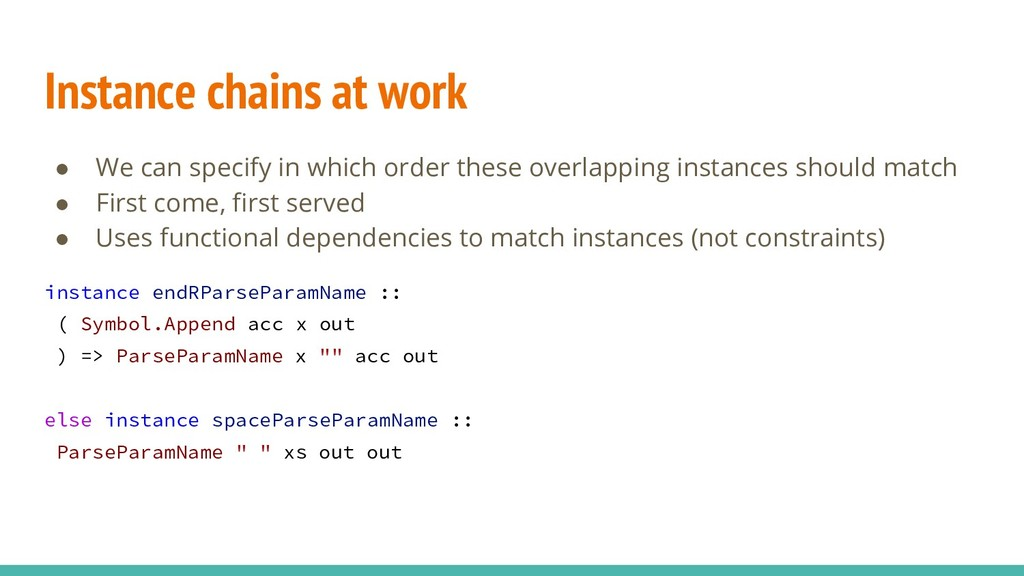 Instance chains at work ● We can specify in whi...