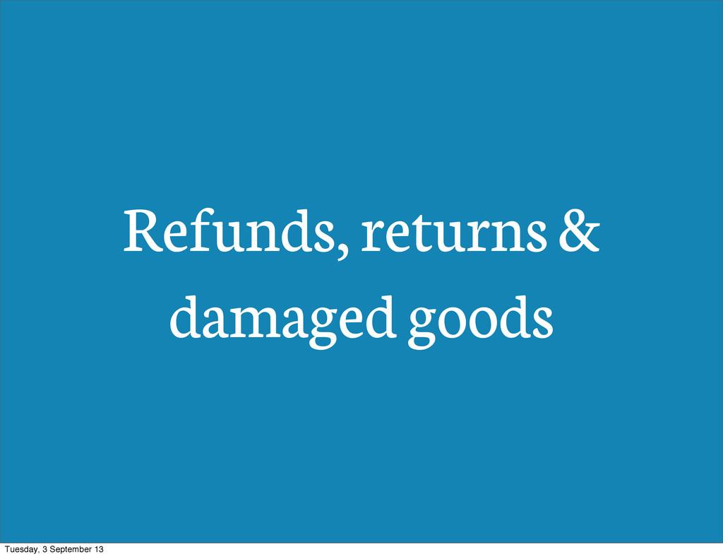 Refunds, returns & damaged goods Tuesday, 3 Sep...