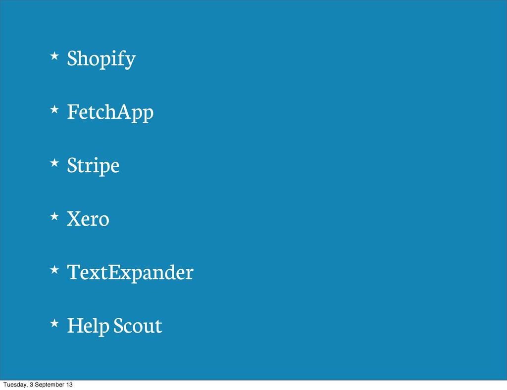 ★ Shopify ★ FetchApp ★ Stripe ★ Xero ★ TextExpa...