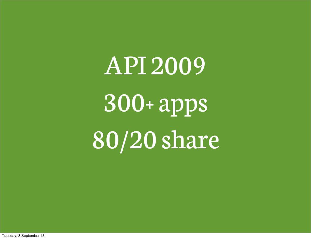 API 2009 300+ apps 80/20 share Tuesday, 3 Septe...
