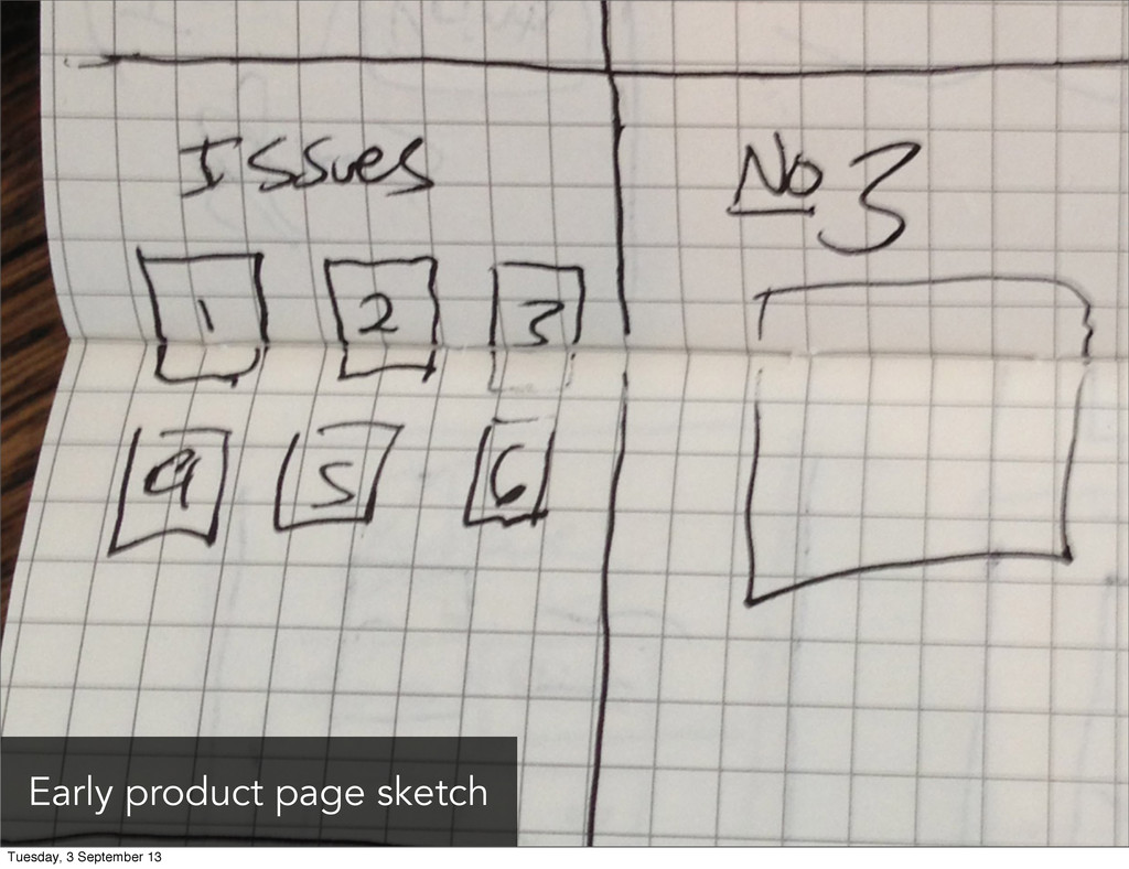 Early product page sketch Tuesday, 3 September ...