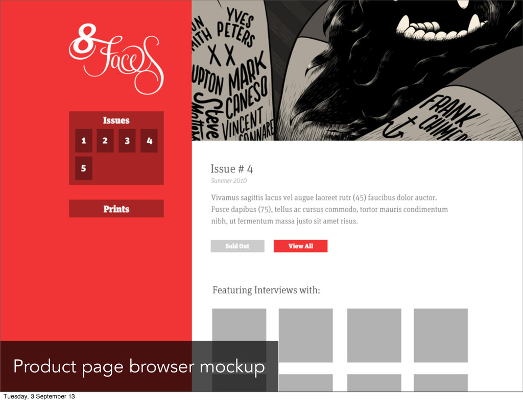 Product page browser mockup Tuesday, 3 Septembe...