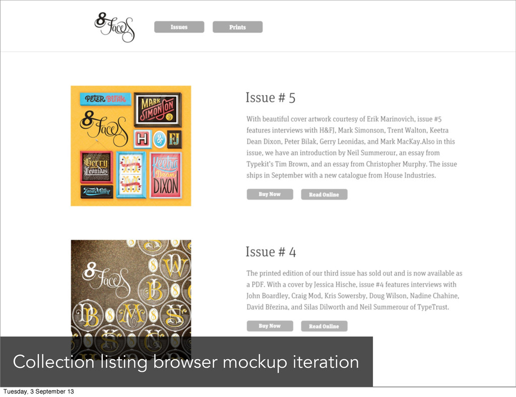 Collection listing browser mockup iteration Tue...