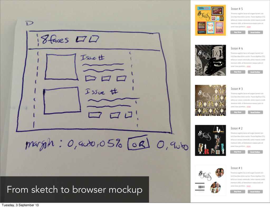 From sketch to browser mockup Tuesday, 3 Septem...