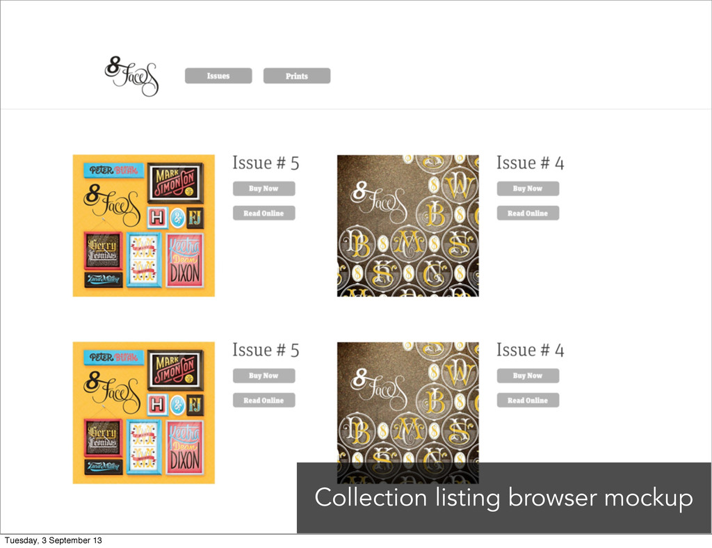 Collection listing browser mockup Tuesday, 3 Se...