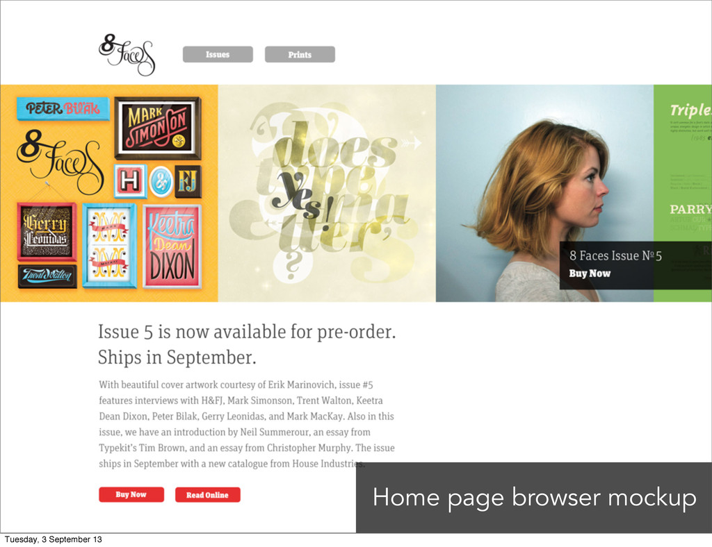 Home page browser mockup Tuesday, 3 September 13