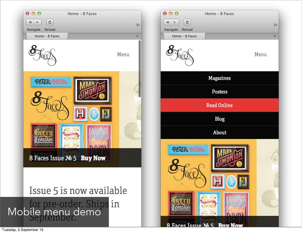 Mobile menu demo Tuesday, 3 September 13