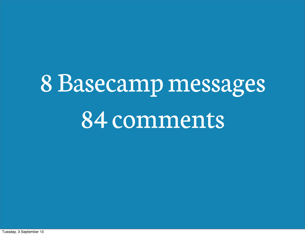 8 Basecamp messages 84 comments Tuesday, 3 Sept...