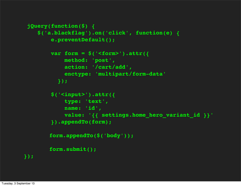 jQuery(function($) { $('a.blackflag').on('click...