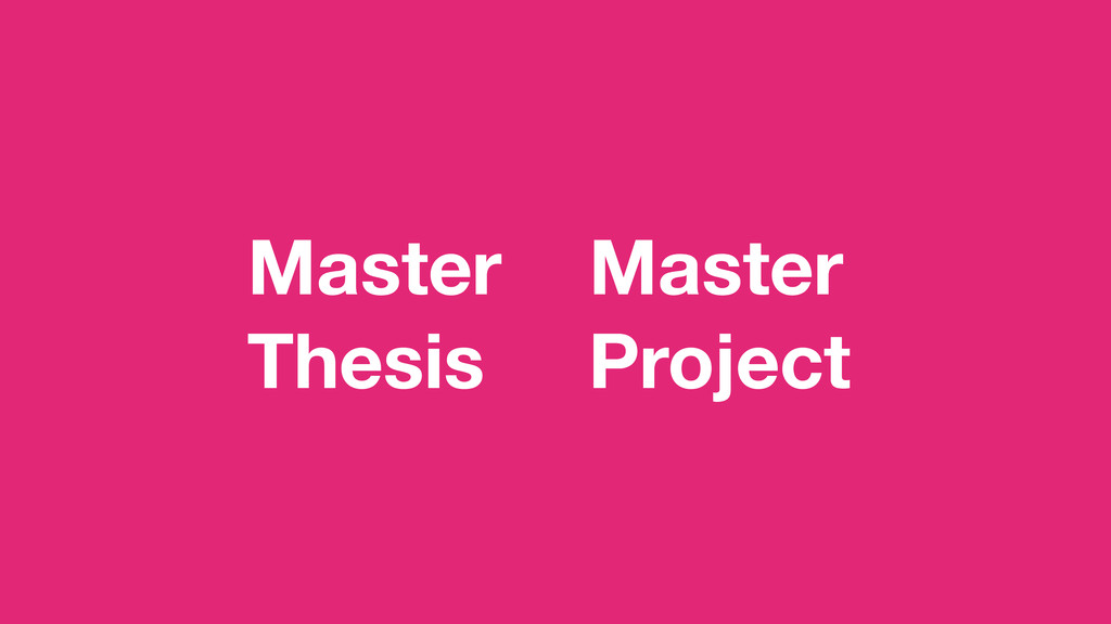 Master Thesis Master Project