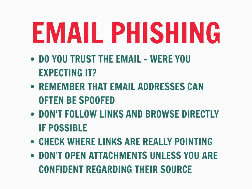 EMAIL PHISHING • DO YOU TRUST THE EMAIL - WERE ...
