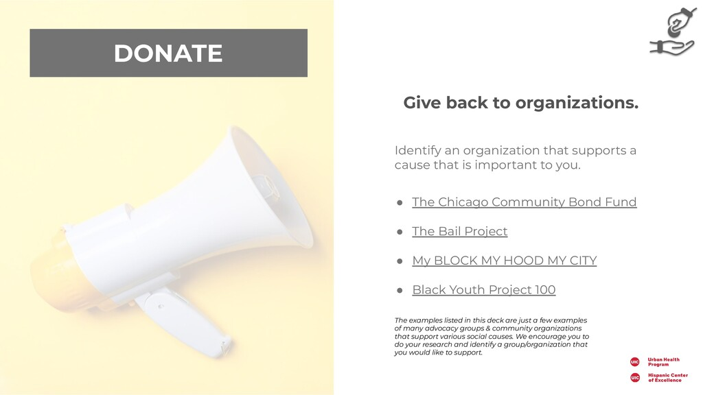 DONATE Identify an organization that supports a...