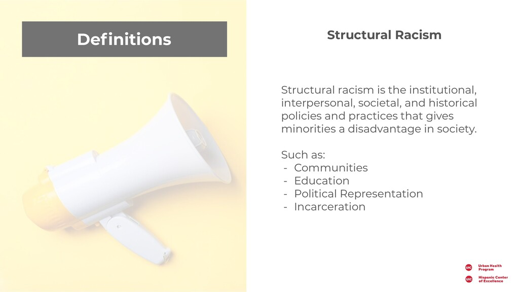 Definitions Structural racism is the institution...