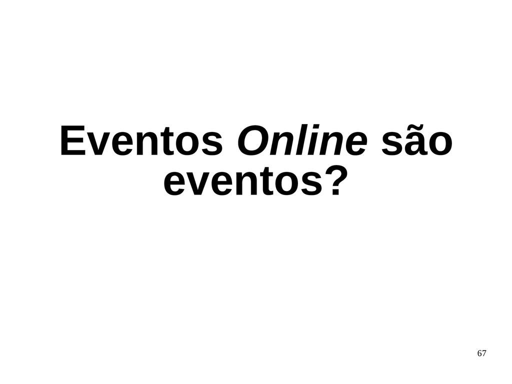 67 Eventos Online são eventos?