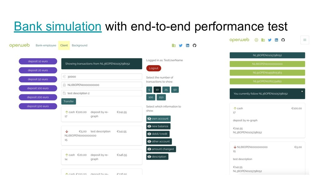 Bank simulation with end-to-end performance test