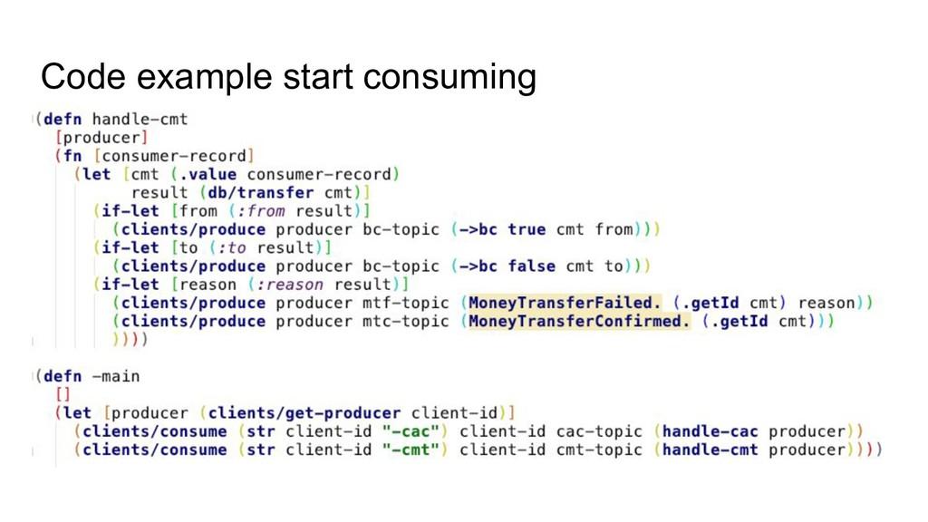 Code example start consuming