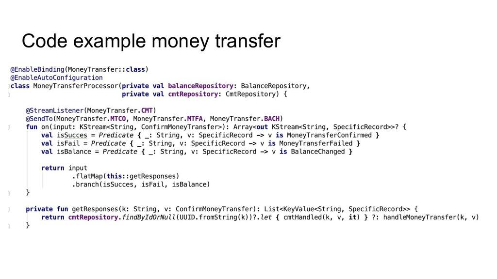 Code example money transfer