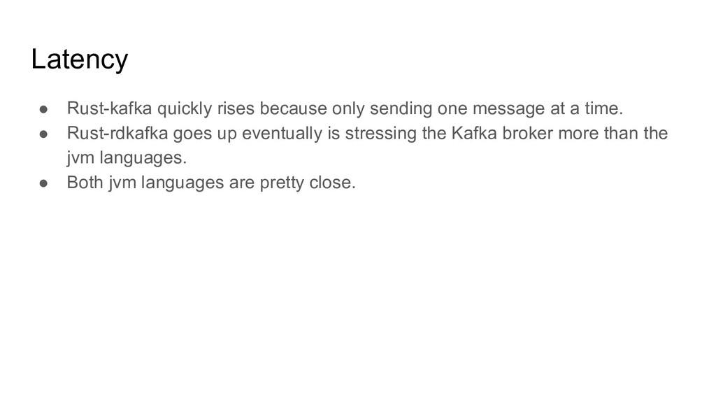 Latency ● Rust-kafka quickly rises because only...
