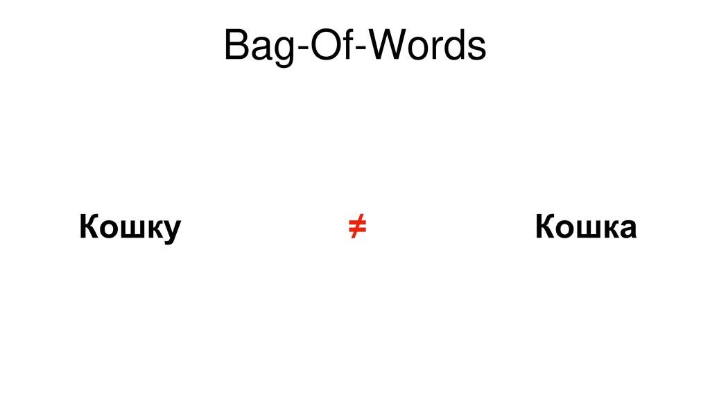 Bag-Of-Words Кошка Кошку ≠