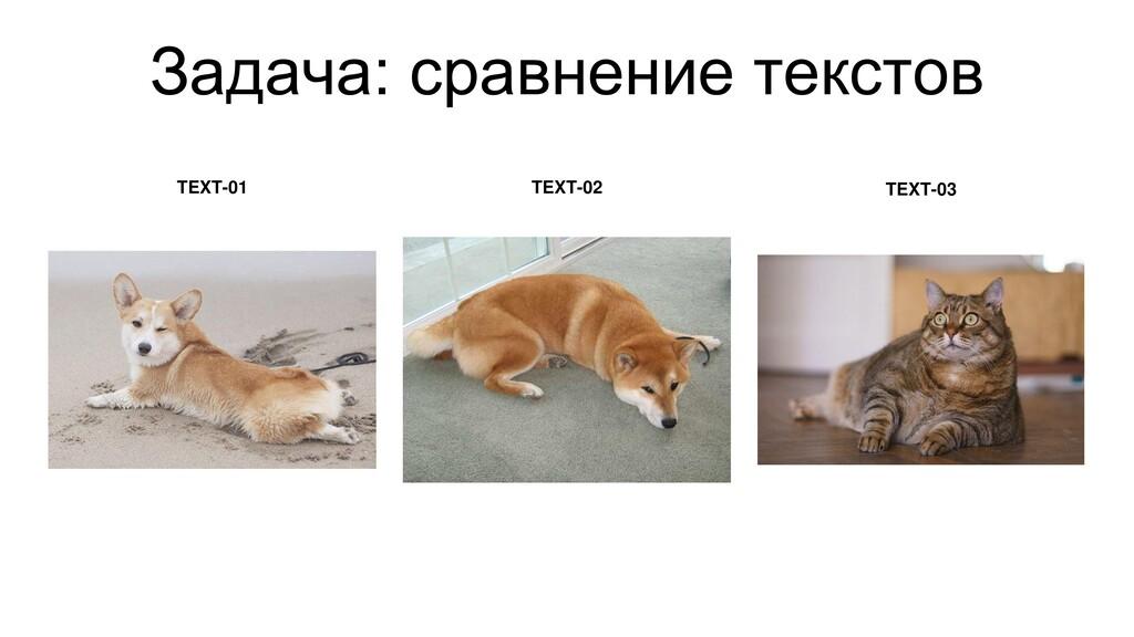 Задача: сравнение текстов TEXT-01 TEXT-02 TEXT-...