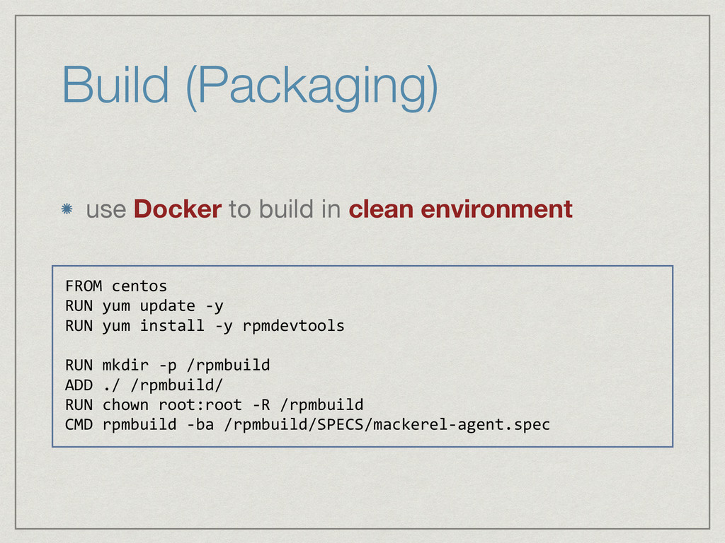 Build (Packaging) use Docker to build in clean ...
