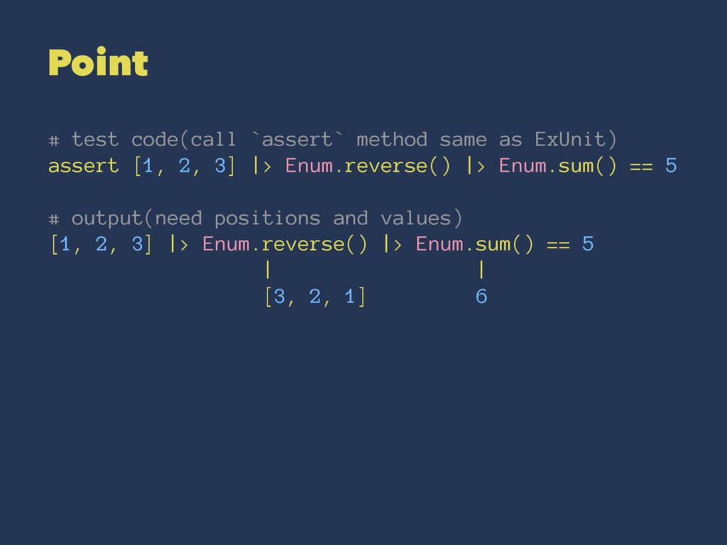 Point # test code(call `assert` method same as ...