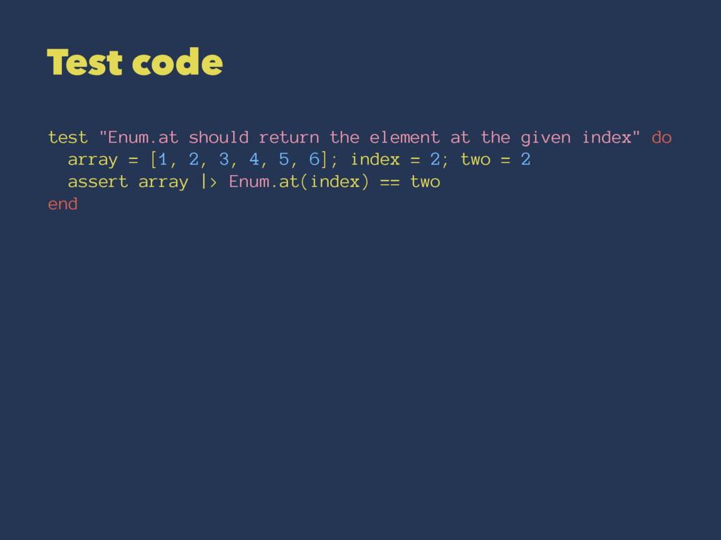 """Test code test """"Enum.at should return the eleme..."""