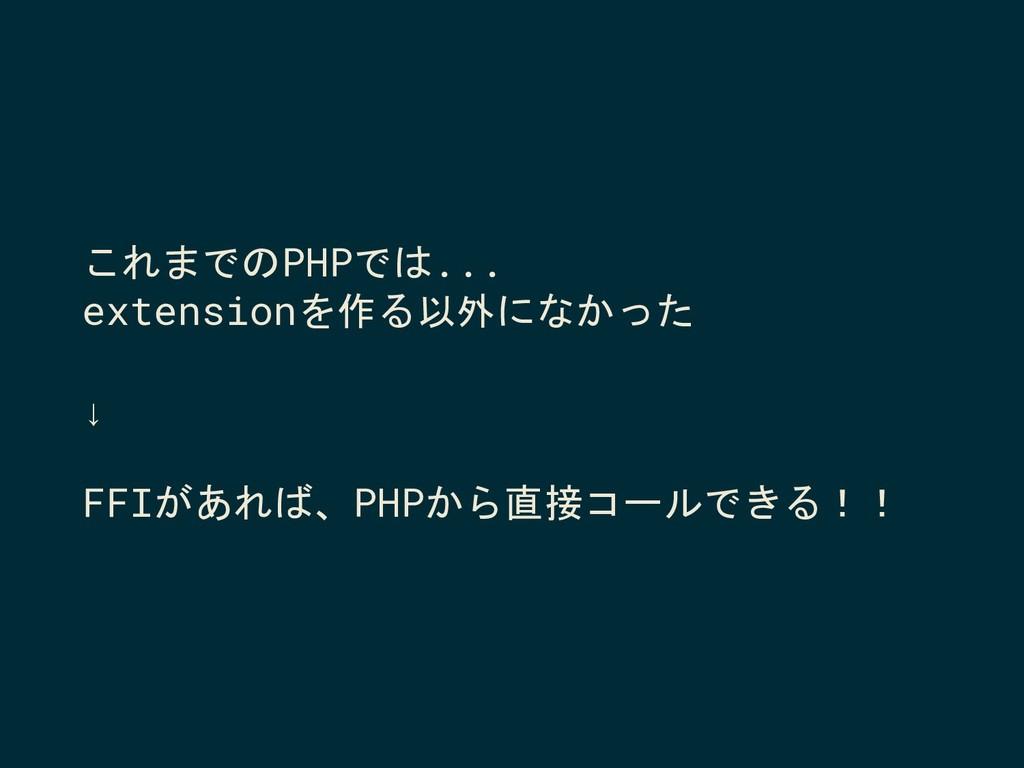 これまでのPHPでは... extensionを作る以外になかった ↓ FFIがあれば、PHP...