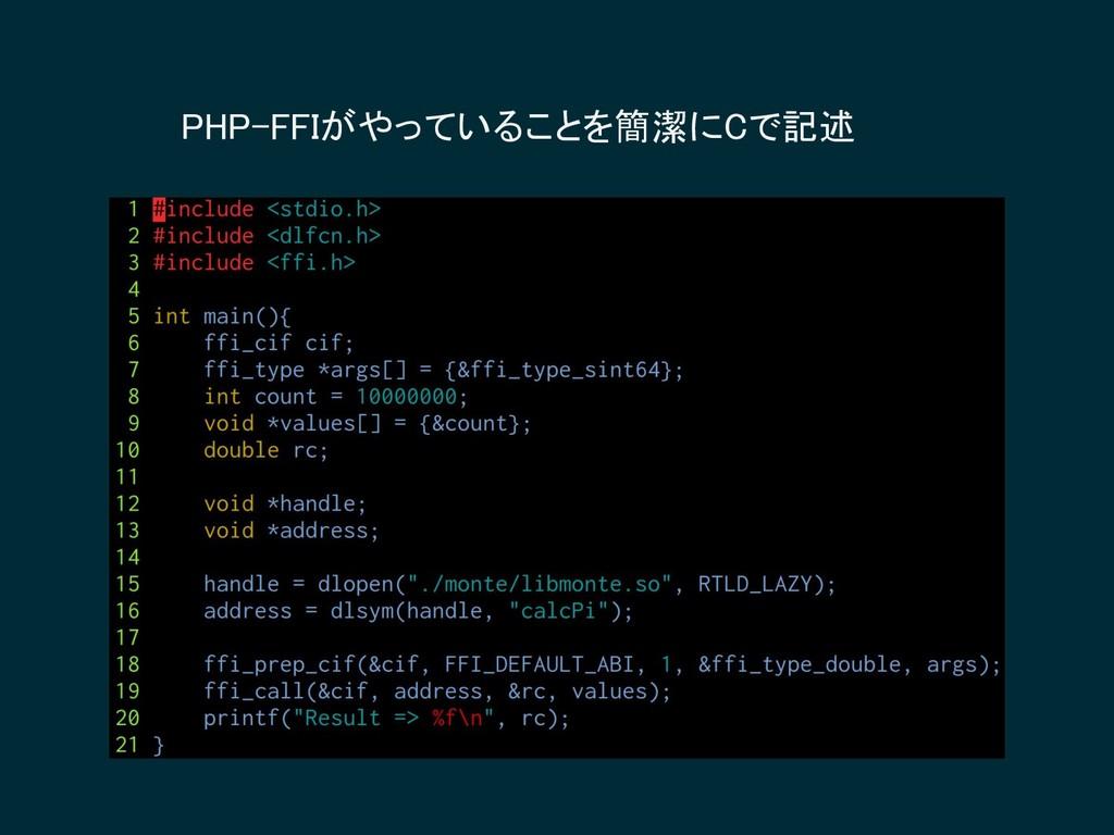 PHP-FFIがやっていることを簡潔にCで記述
