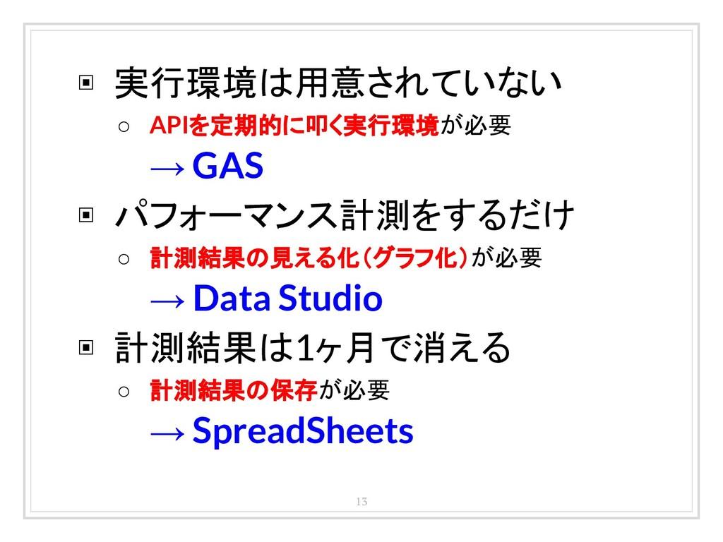 13 ▣ 実行環境は用意されていない ○ APIを定期的に叩く実行環境が必要 → GAS ▣ ...