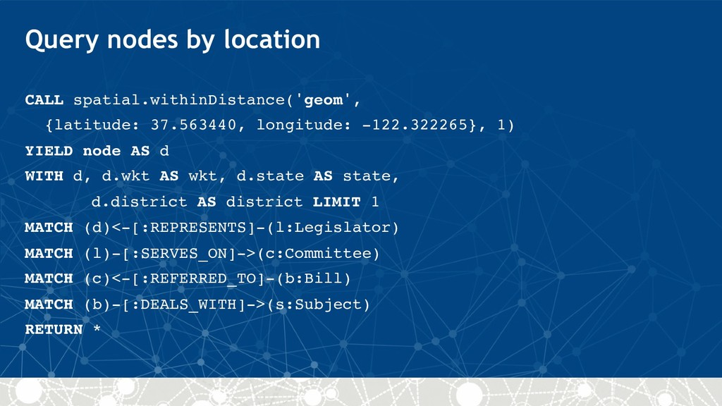 Query nodes by location CALL spatial.withinDist...