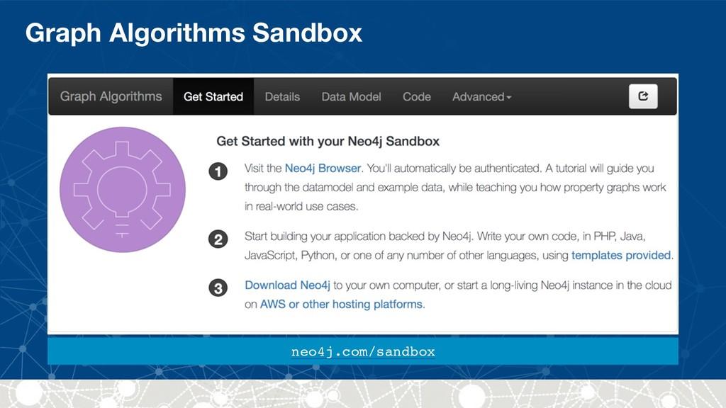 Graph Algorithms Sandbox neo4j.com/sandbox