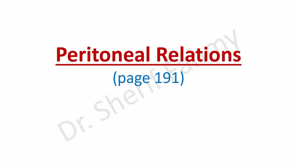 Peritoneal Relations (page 191)