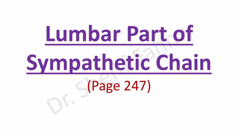 Lumbar Part of Sympathetic Chain (Page 247)