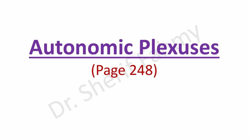 Autonomic Plexuses (Page 248)