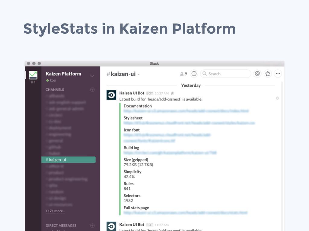 StyleStats in Kaizen Platform