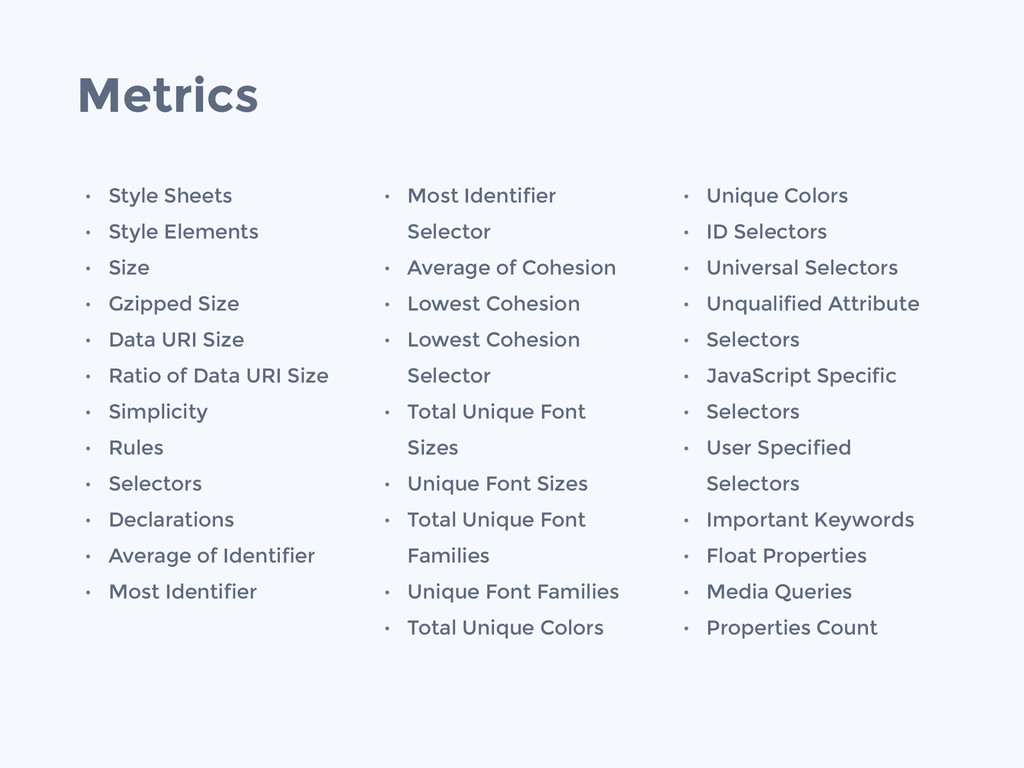 Metrics • Style Sheets • Style Elements • Size ...