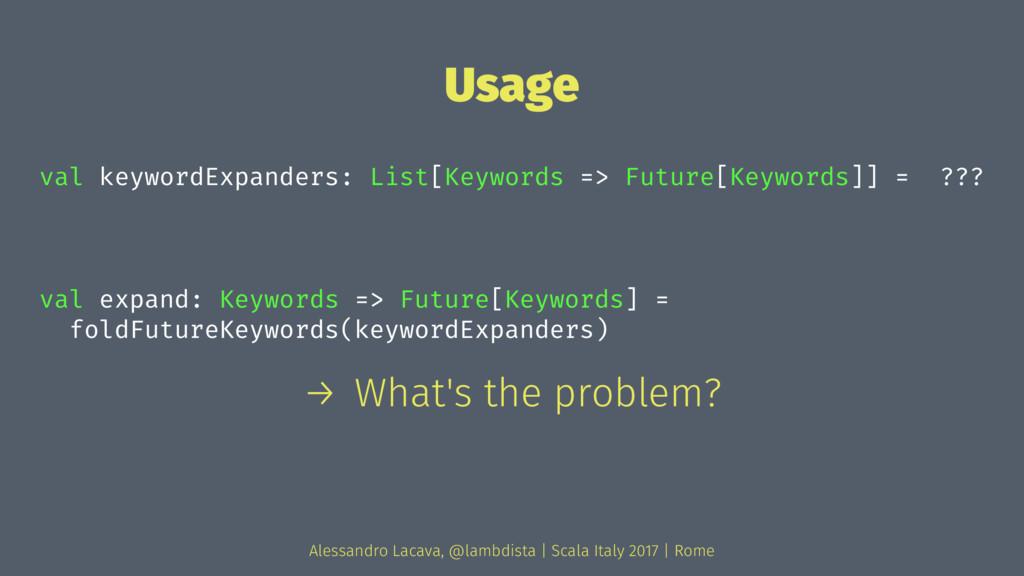 Usage val keywordExpanders: List[Keywords => Fu...