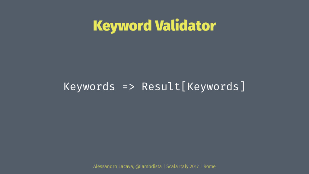 Keyword Validator Keywords => Result[Keywords] ...