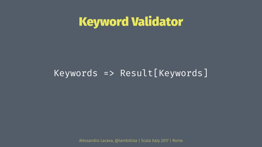 Keyword Validator Keywords => Result[Keywords] ...