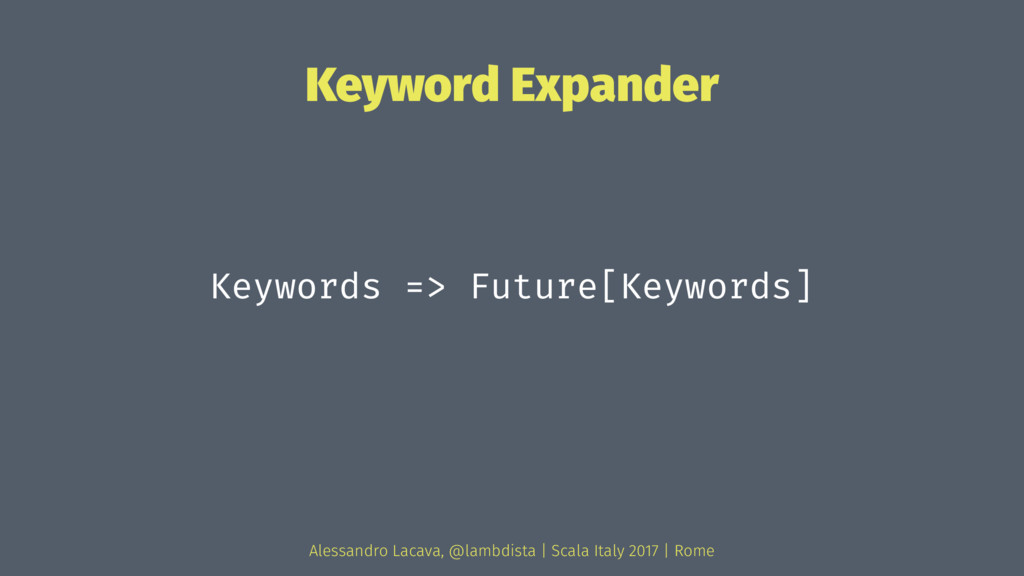 Keyword Expander Keywords => Future[Keywords] A...
