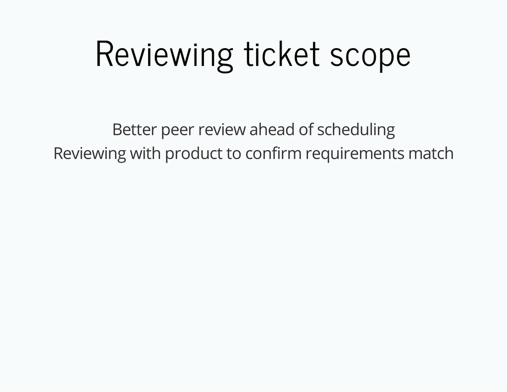Reviewing ticket scope Better peer review ahead...