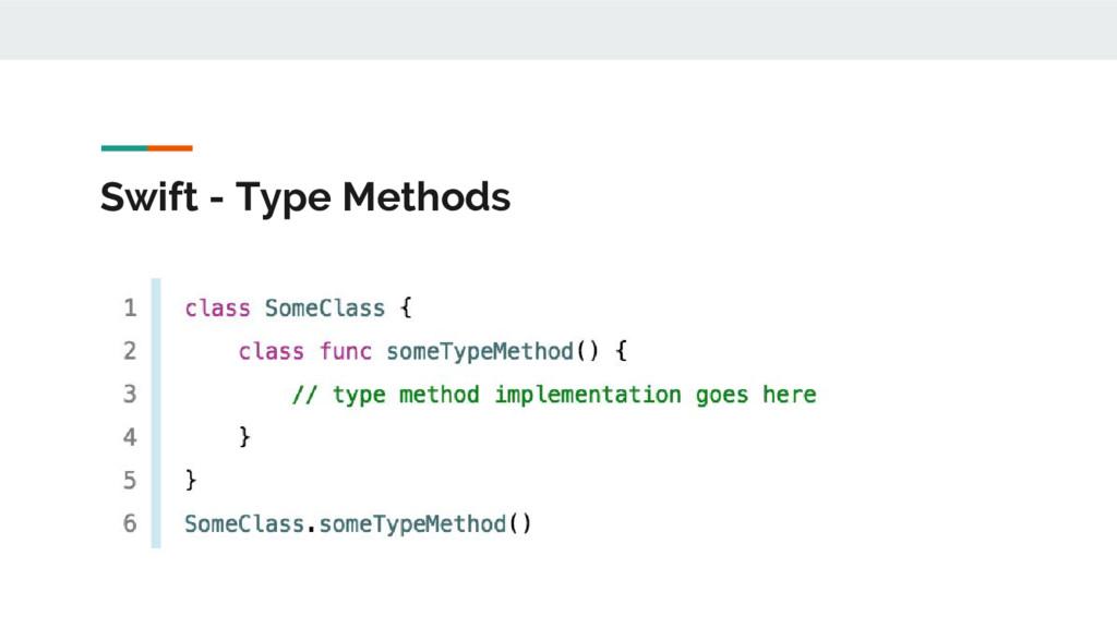 Swift - Type Methods