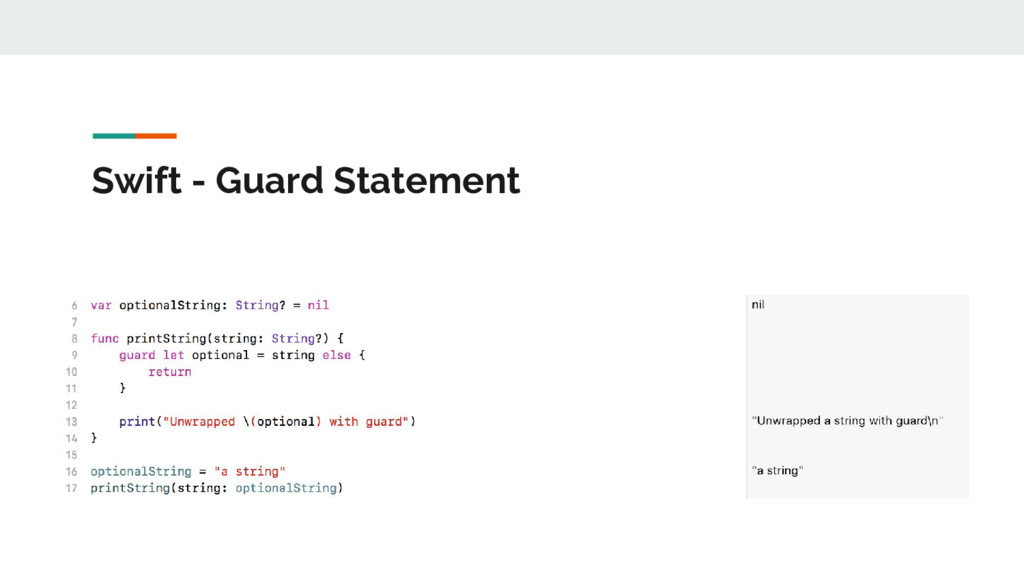 Swift - Guard Statement