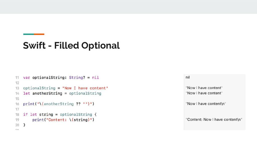 Swift - Filled Optional