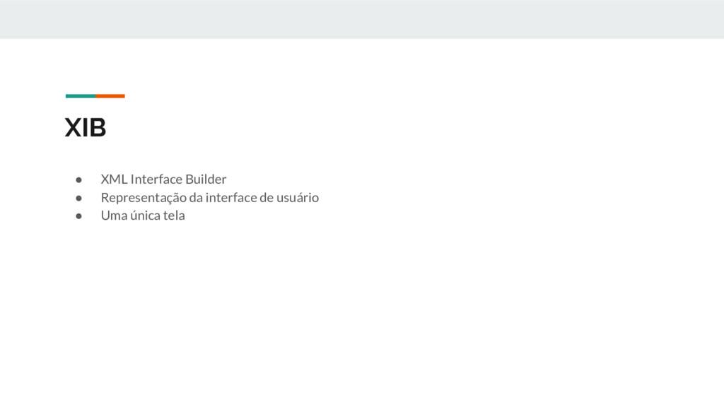 XIB ● XML Interface Builder ● Representação da ...