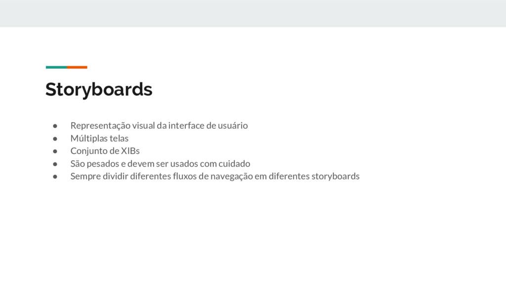 Storyboards ● Representação visual da interface...