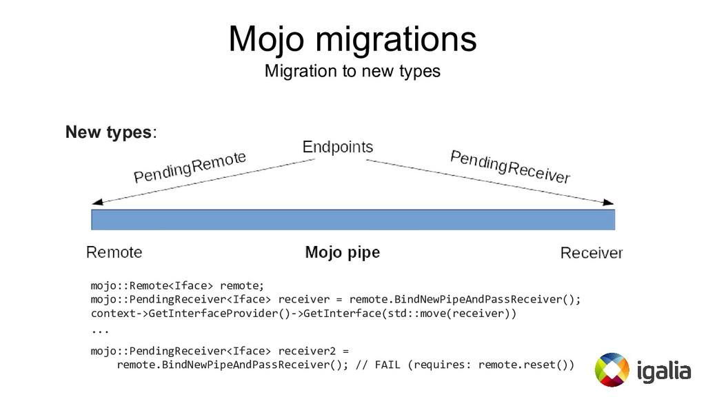 New types: mojo::Remote<Iface> remote; mojo::Pe...