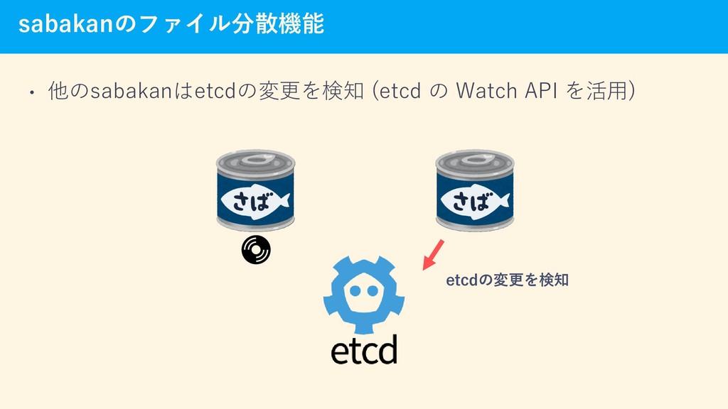 sabakanのファイル分散機能 • 他のsabakanはetcdの変更を検知 (etcd の...
