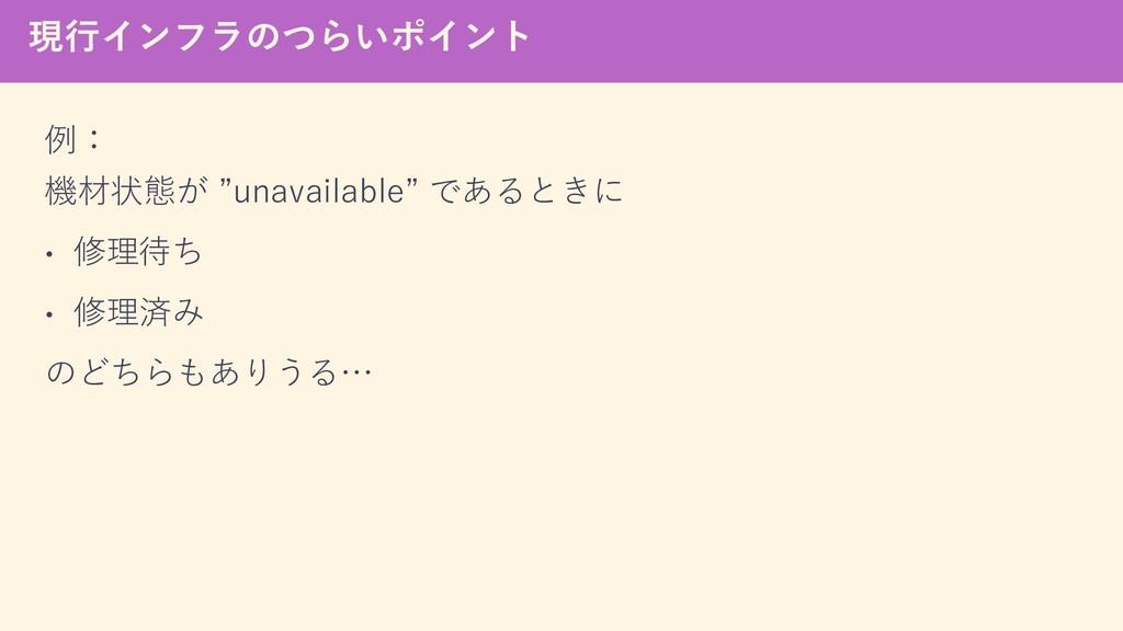 """現行インフラのつらいポイント 例: 機材状態が """"unavailable"""" であるときに • ..."""